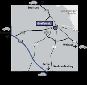 Anfahrt MVZ HRO, Zweigstelle Greifswald